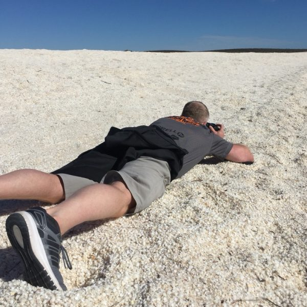 Shell Beach. Voller Einsatz beim Fotografieren